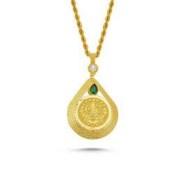 SembolGold - Altın Tuğralı Kolye Yeşil Damla Taşlı