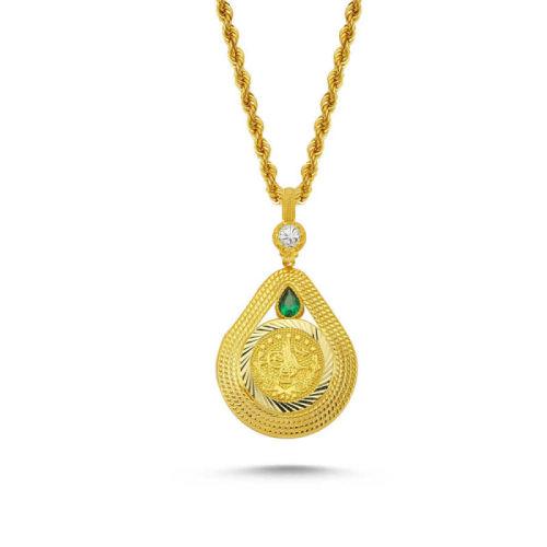 SembolGold - Altın Tuğralı Kolye Yeşil Taşlı Damla