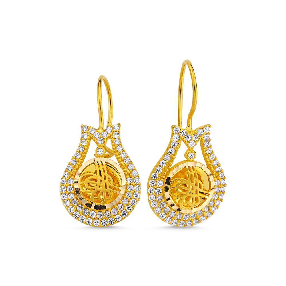 Altın Tuğralı Küpe Lale Tasarım SK42-009254545