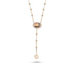 SembolGold - Altın Vav Kolye 14K Rose Dorika Zincirli Özel Tasarım