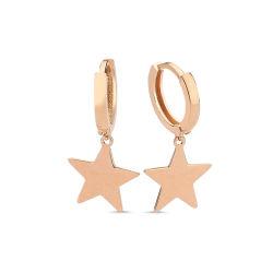 SembolGold - Altın Yıldız Sarkık Küpe Rose Altın SK42-013