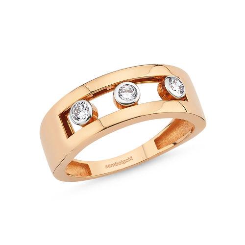 SembolGold - Altın Yüzük 14K Rose Oynar Taşlı DE624544