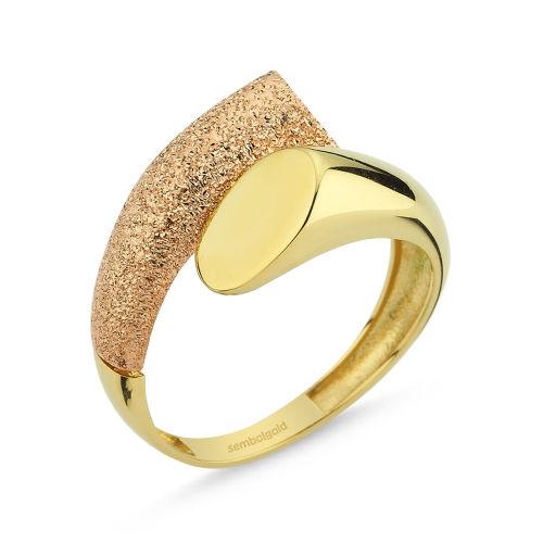 SembolGold - Altın Yüzük 14K Sarı ve Rose Yeni Model DE2672870