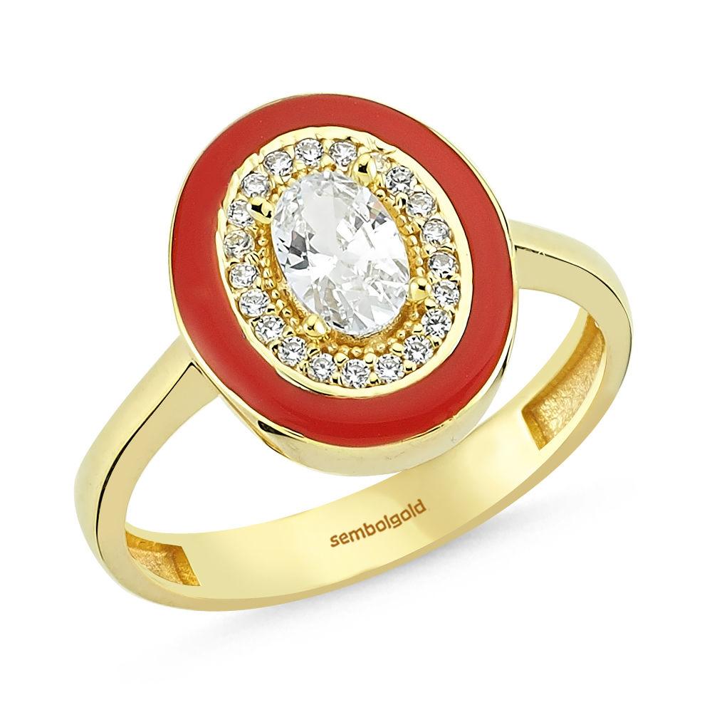 Altın Yüzük Kırmızı Mineli Oval Taşlı Özel Tasarım