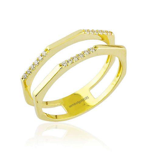 SembolGold - Altın Yüzük Suyolu 14K Gold Taşlı