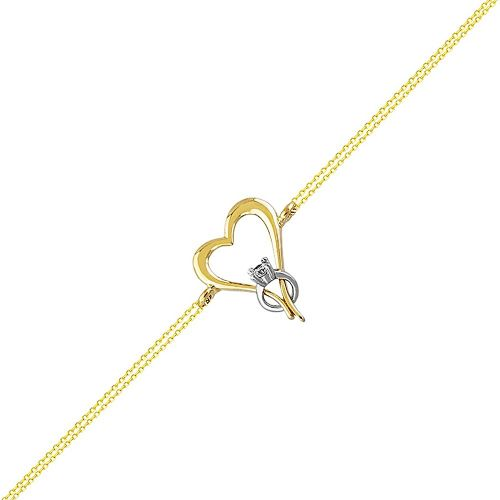 SembolGold - Altın Zincir Bileklik Kalp Tektaş Tasarım 14K Gold 17 Cm