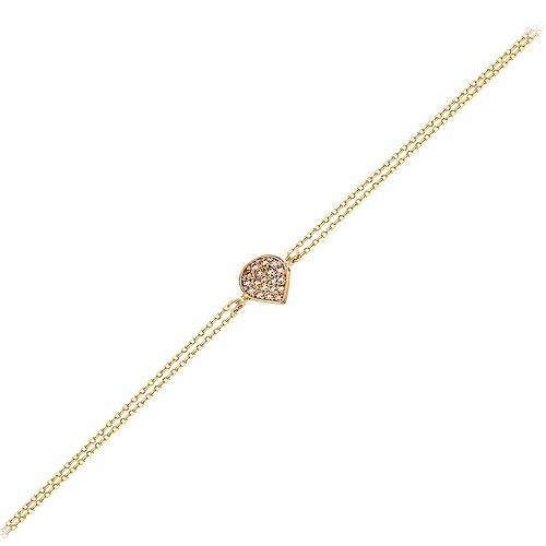 SembolGold - Altın Zincir Damla Bileklik 14K Rose Gold 17 Cm