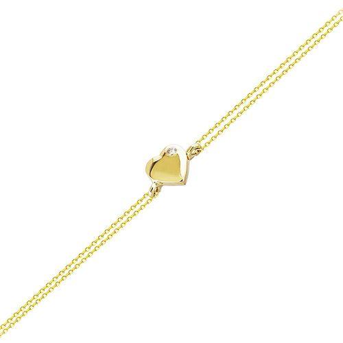 SembolGold - Altın Zincir Kalp Bileklik 14K Gold 17 Cm Taşlı