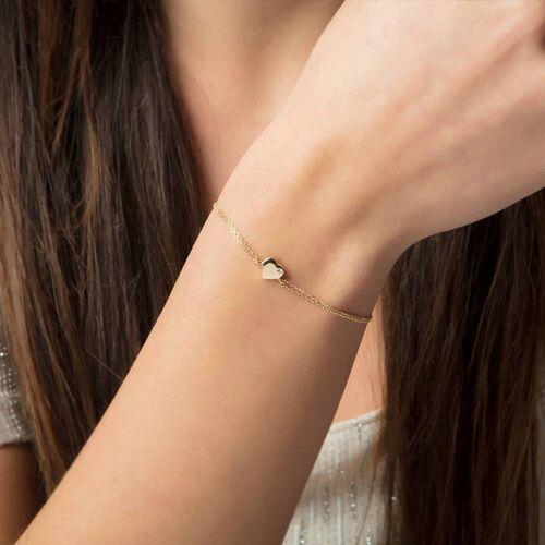 SembolGold - Altın Zincir Kalp Bileklik 14K Gold Taşlı (1)