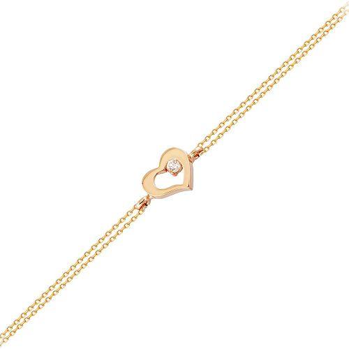 SembolGold - Altın Zincir Kalp Bileklik 14K Rose Gold 17 Cm Taşlı