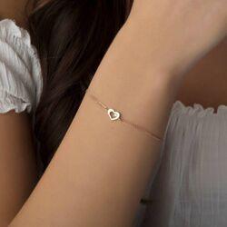 SembolGold - Altın Zincir Kalp Bileklik 14K Rose Gold Taşlı (1)