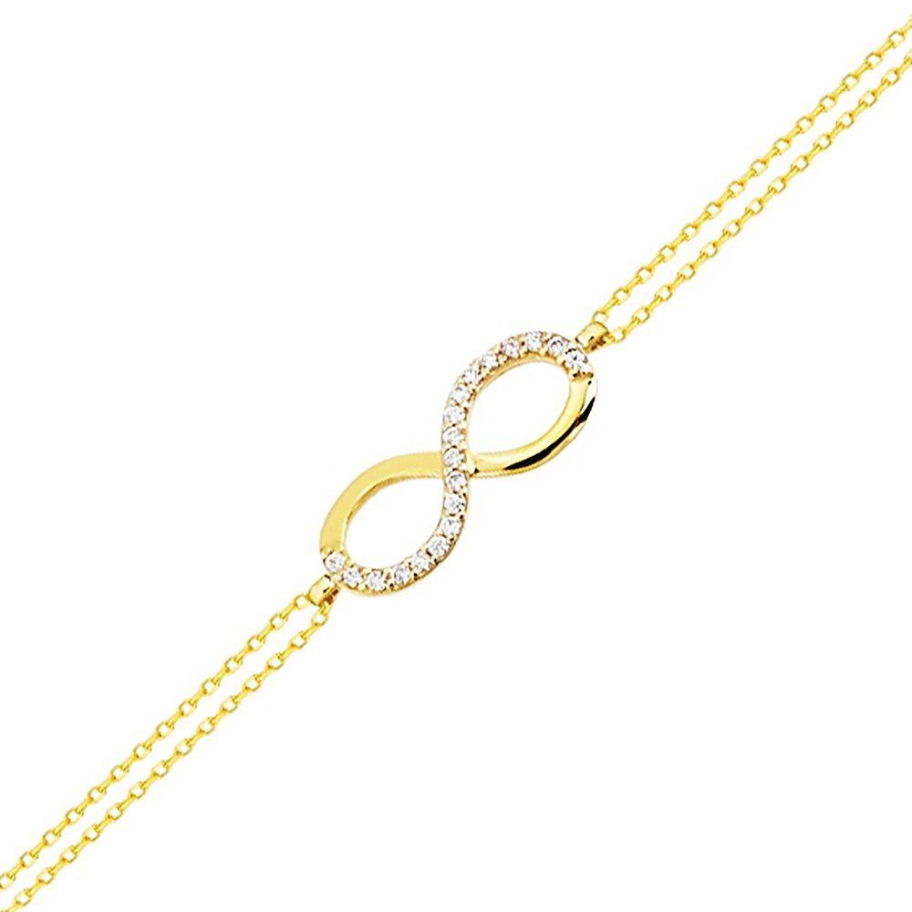 Altın Zincir Sonsuzluk Bileklik 14K Gold 17 Cm Taşlı 1,60 gr