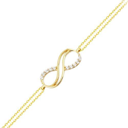 SembolGold - Altın Zincir Sonsuzluk Bileklik 14K Gold Taşlı