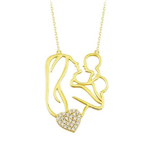 SembolGold - Anne Bebek Altın Kolye Kalp'li 14K Gold