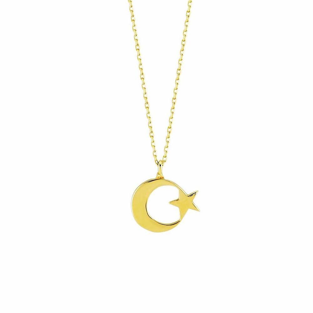 Ay Yıldız Altın Kolye Gold