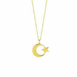 Ay Yıldız Altın Kolye Gold - Thumbnail