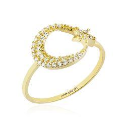 SembolGold - Ayyıldız Altın Yüzük 14K Gold Taşlı