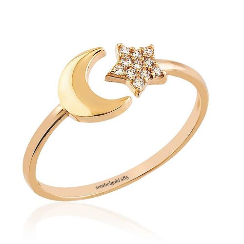 SembolGold - Ayyıldız Rose Altın Yüzük 14K Gold Taşlı
