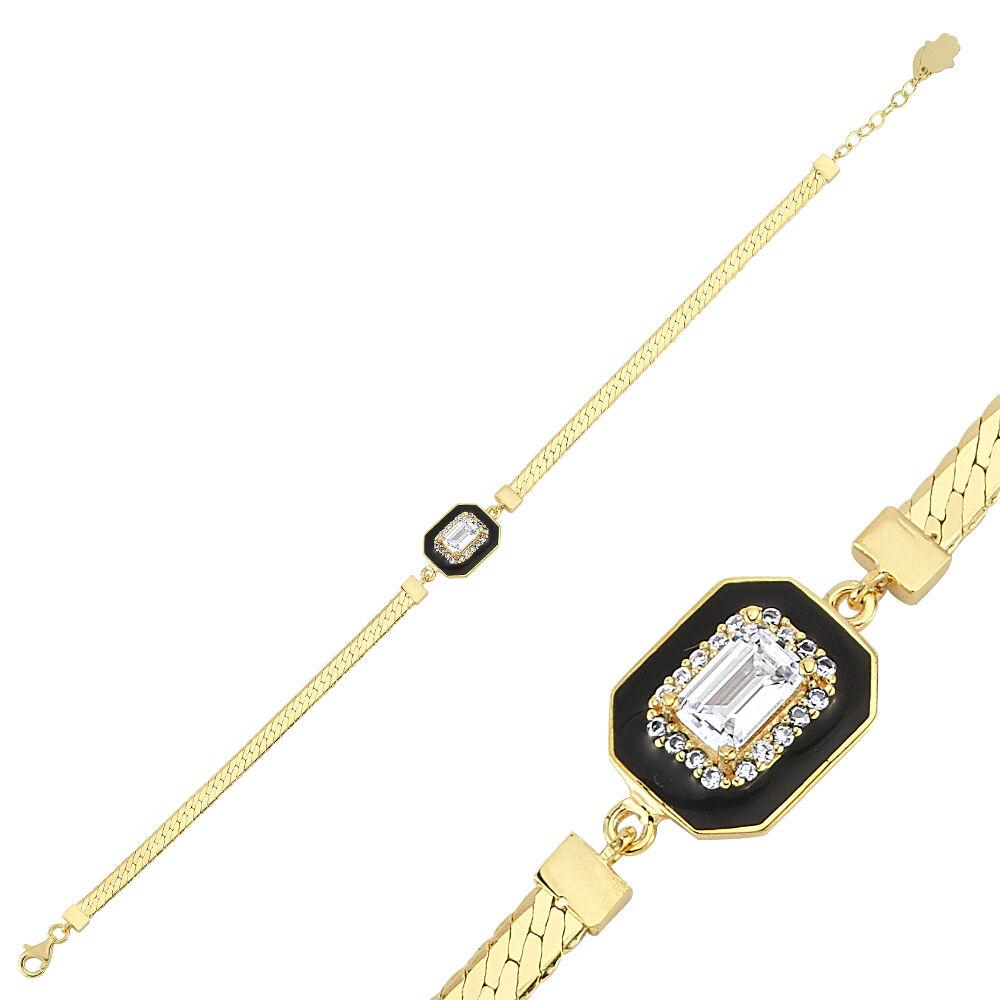 Baget Altın Bileklik Mineli Ezme Zincir 18-22 cm