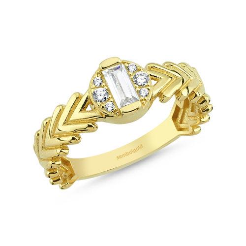 SembolGold - Baget Altın Yüzük 0,28 Karat Gold Pars Tasarım