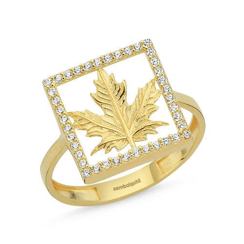SembolGold - Çınar Altın Yıldız Yüzük 8K Golden Özel Tasarım