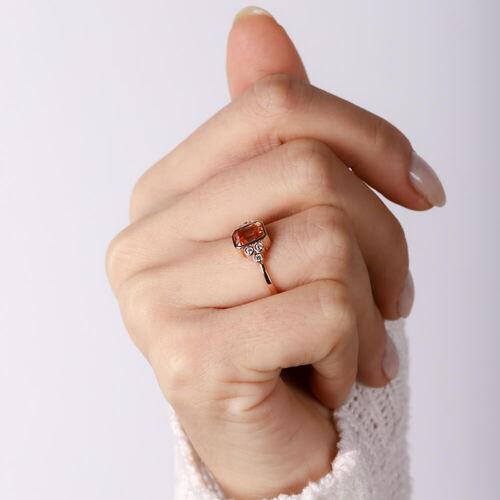 SembolGold - Citrin Amber Altın Yüzük Pırlanta Montur 14 Ayar Bagets (1)