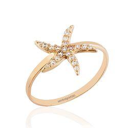 SembolGold - Deniz Yıldızı Rose Altın Yüzük 14K Gold Taşlı