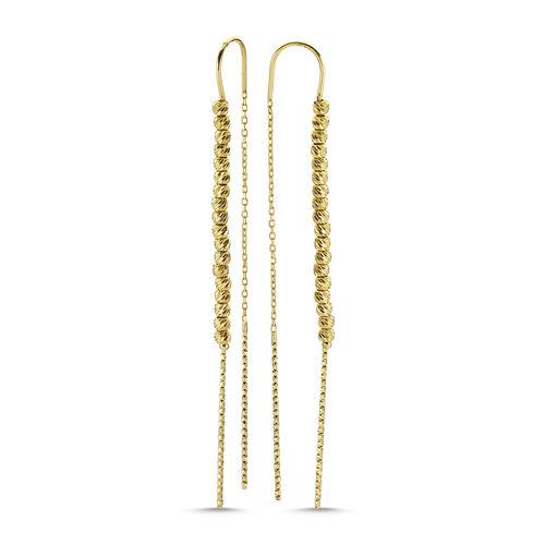 SembolGold - Dorikalı Altın Küpe 14K Sarı Gold 7,0 cm