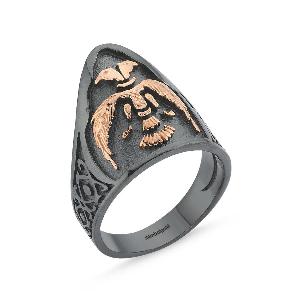 Erkek Gümüş Eklem Yüzük Anadolu Selçuklu Arması Özel Tasarım ALP-0452593