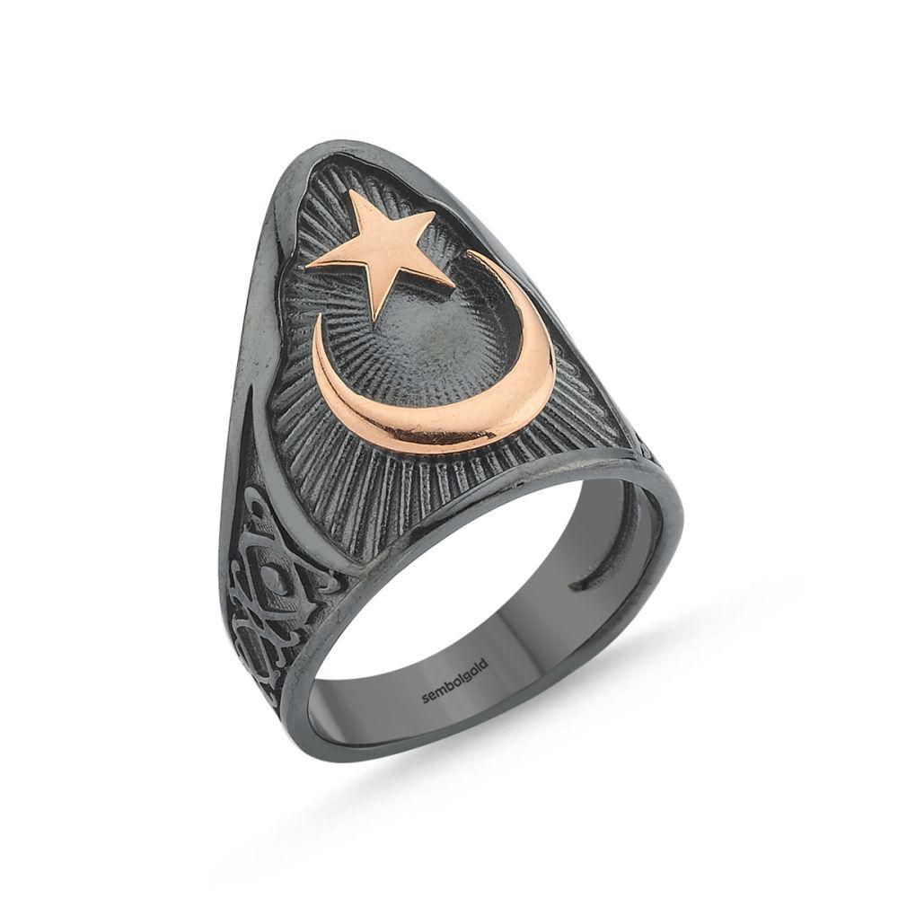 Erkek Gümüş Eklem Yüzük Ay Yıldızımız Özel Tasarım ALP-0452596