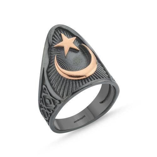 SembolGold - Erkek Gümüş Eklem Yüzük Ay Yıldızımız Özel Tasarım ALP-0452596