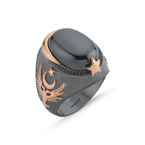SembolGold - Erkek Gümüş Yüzük Akik Taşlı Selçuklu Özel Tasarım ALP-0452615