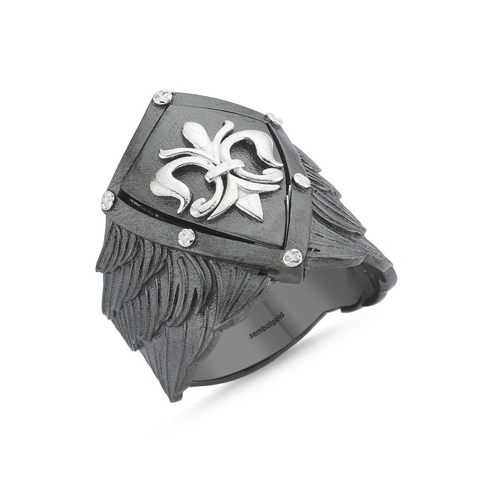 Erkek Gümüş Yüzük kalkan Özel Tasarım ALP-0452590