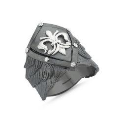 SembolGold - Erkek Gümüş Yüzük kalkan Özel Tasarım