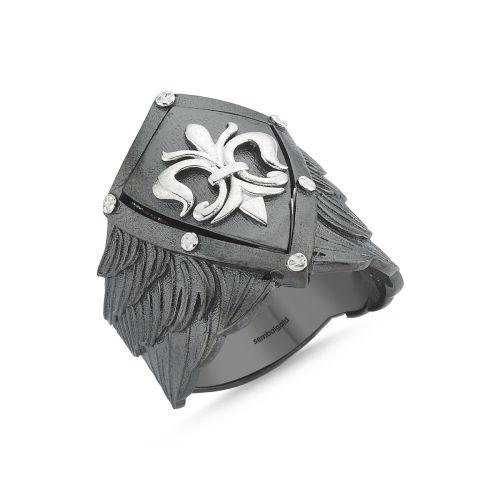 SembolGold - Erkek Gümüş Yüzük kalkan Özel Tasarım ALP-0452590