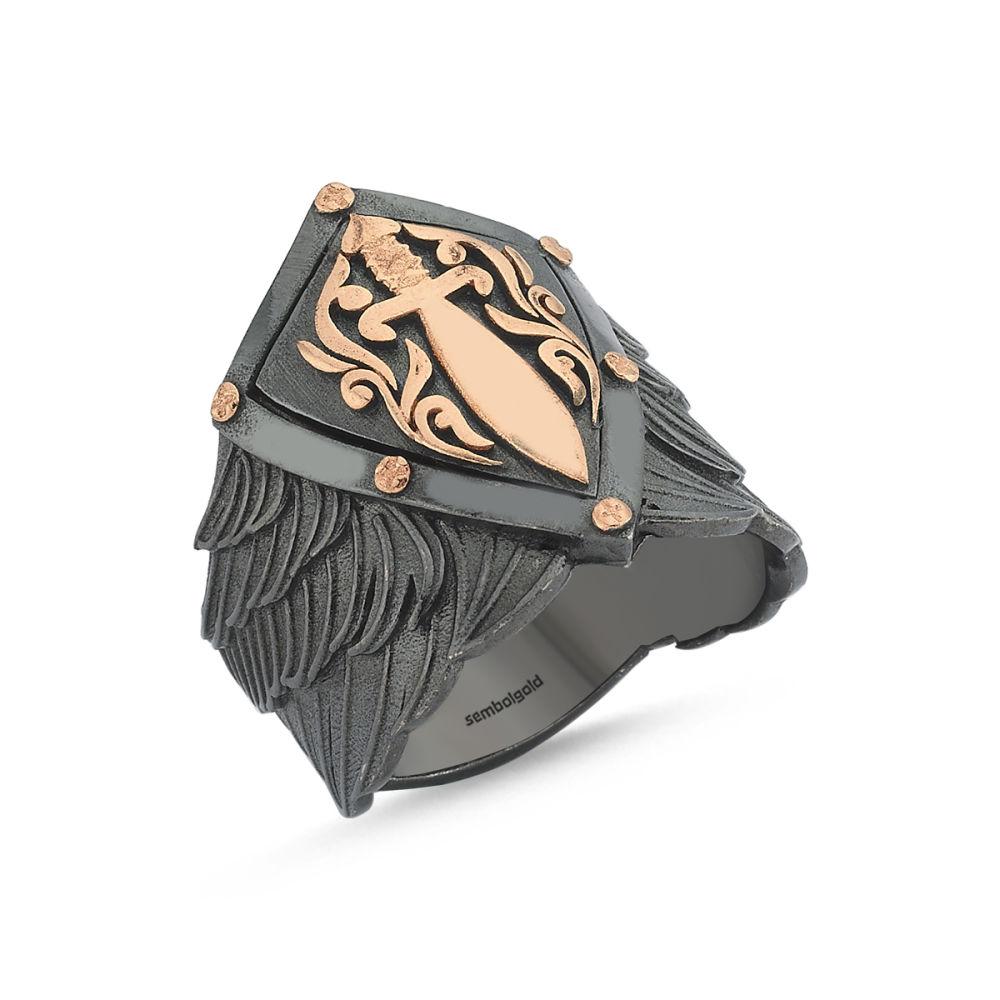 Erkek Gümüş Yüzük Kılıçlı Arma Özel Tasarım ALP-0452600