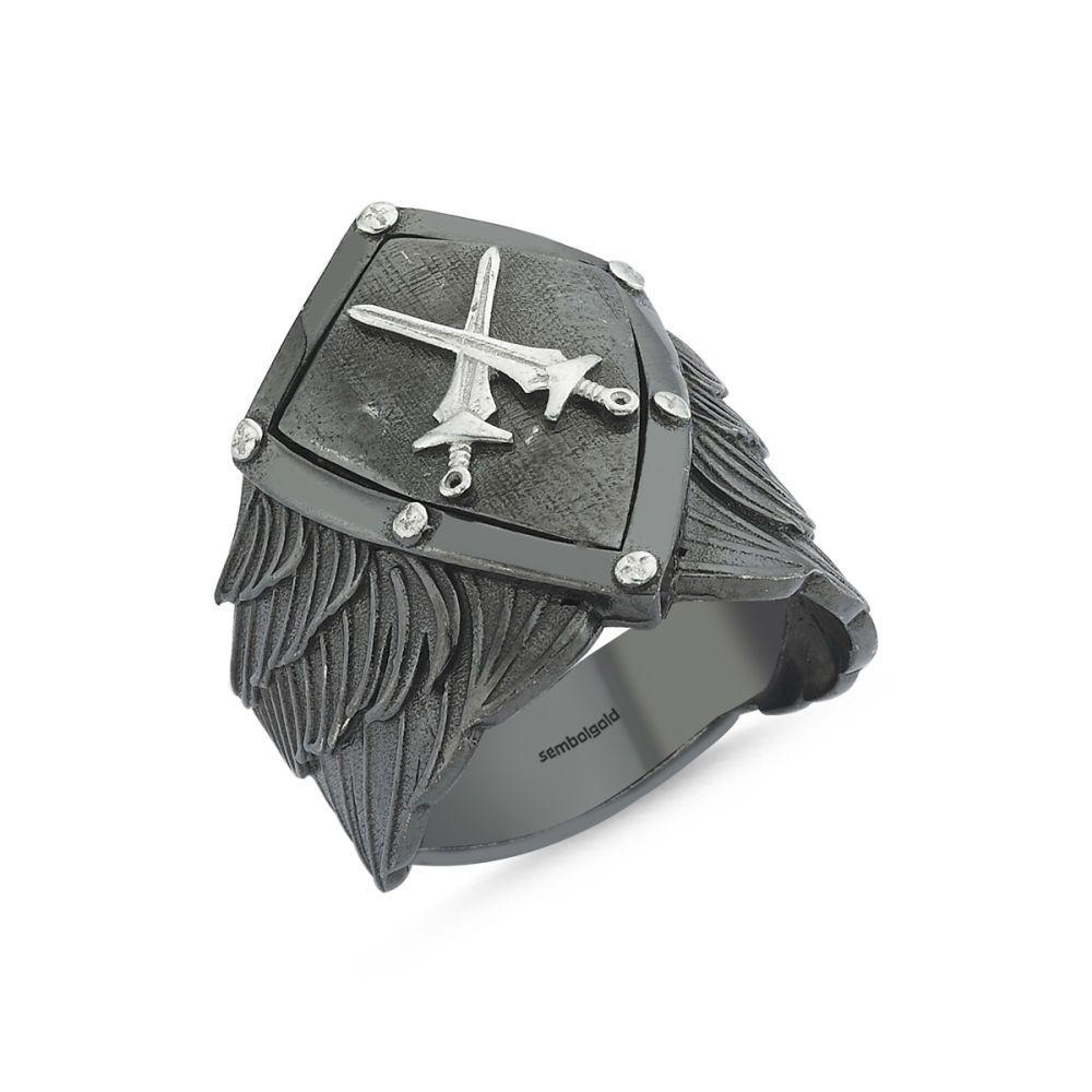 Alpaslan Usta Erkek Gümüş Yüzük Kılıçlı Kalkan Özel Tasarım