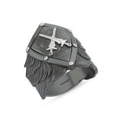 SembolGold - Erkek Gümüş Yüzük Kılıçlı Kalkan Özel Tasarım