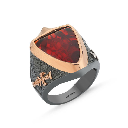 SembolGold - Erkek Gümüş Yüzük Koyu Kırmızı Ruby Taş Özel Tasarım ALP-0452597