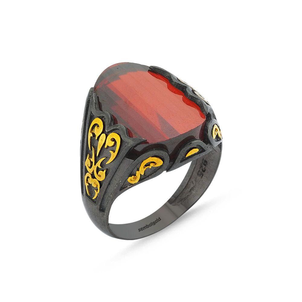 Erkek Gümüş Yüzük Koyu Kırmızı Zirconia Özel Tasarım ALP-0452589
