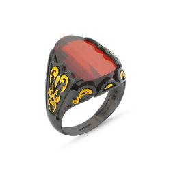 SembolGold - Erkek Gümüş Yüzük Koyu Kırmızı Zirconia Özel Tasarım ALP-0452589