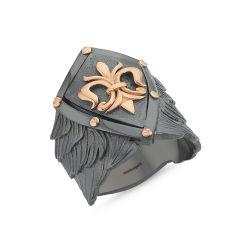 SembolGold - Erkek Gümüş Yüzük Kuşaklı Arma Özel Tasarım ALP-0452601