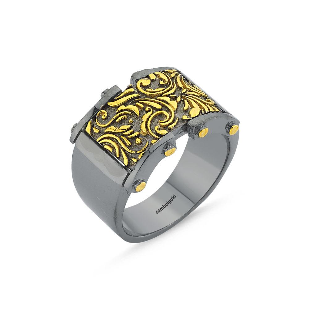 Erkek Gümüş Yüzük Motif Özel Tasarım ALP-0452609