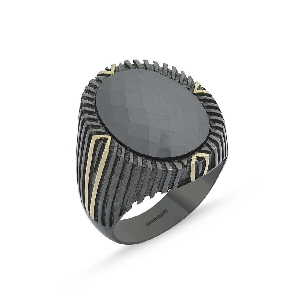 Erkek Gümüş Yüzük Onix Zirconia Özel Tasarım ALP-0452616