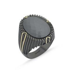 SembolGold - Erkek Gümüş Yüzük Onix Zirconia Özel Tasarım