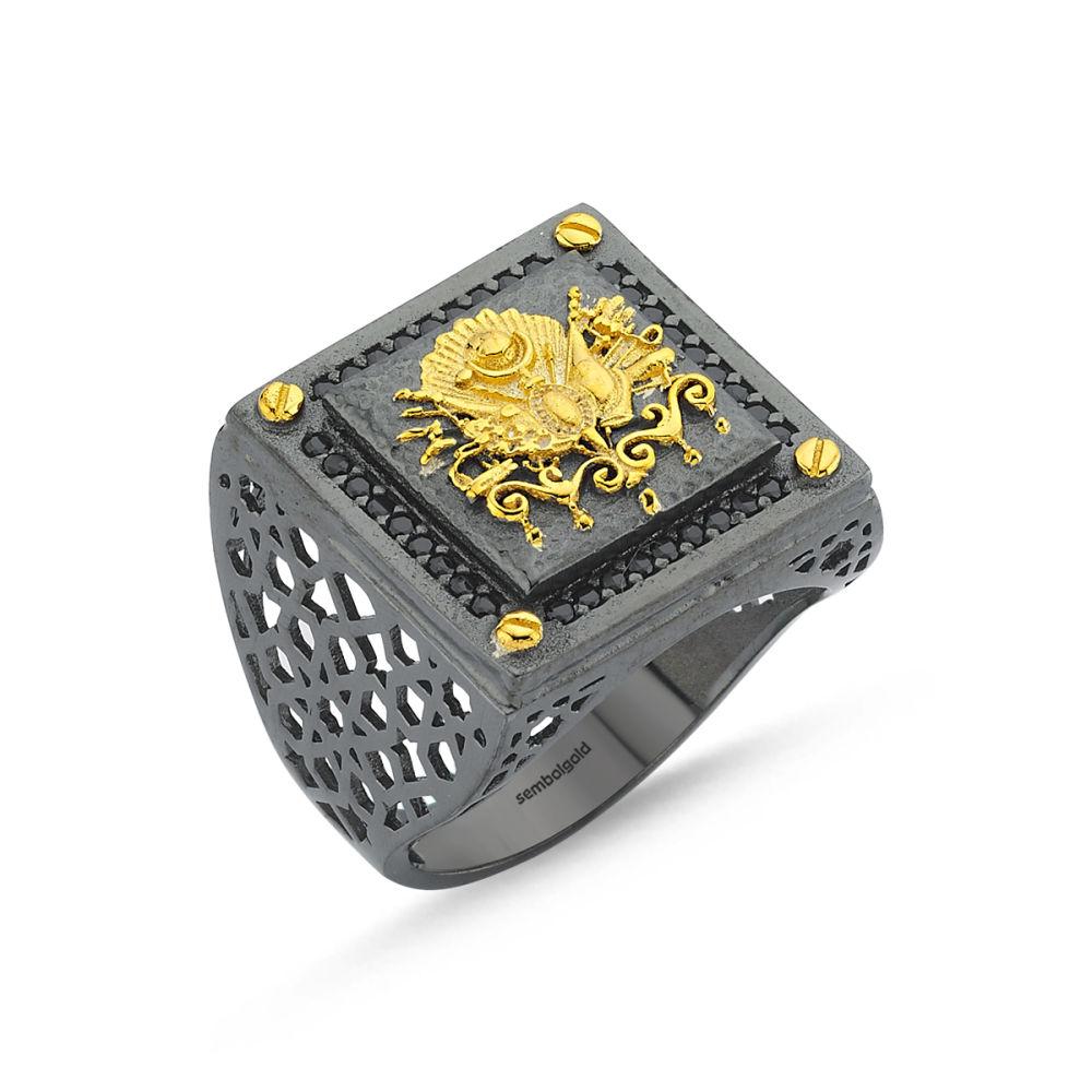 Erkek Gümüş Yüzük Osmanlı Arması Özel Tasarım ALP-0452619