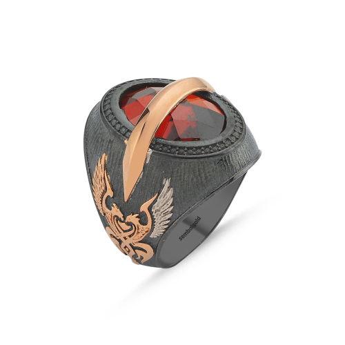 SembolGold - Erkek Gümüş Yüzük Ruby Zirconia Taşlı Özel Tasarım ALP-0452581