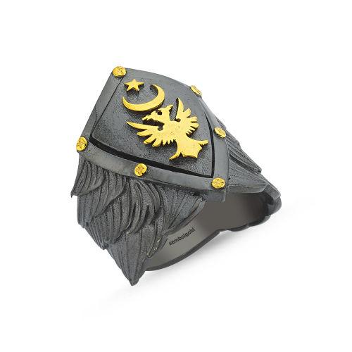 SembolGold - Erkek Gümüş Yüzük Selçuklu Ayyıldız Arma Özel Tasarım ALP-0452599