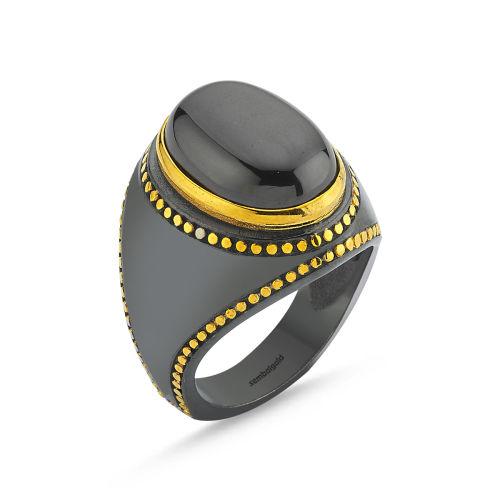 SembolGold - Erkek Gümüş Yüzük Siyah ONİX Taşlı Özel Tasarım ALP-0452579