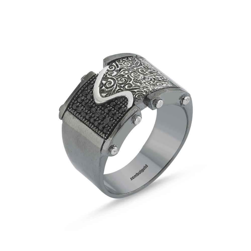Erkek Gümüş Yüzük Siyah&Beyaz Özel Tasarım ALP-0452610